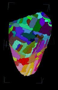 Quelle: Grafik: HZB/Manke, Grothausmann Die Grenzen der magnetischen Domänen können am Computer dreidimensional dargestellt werden.